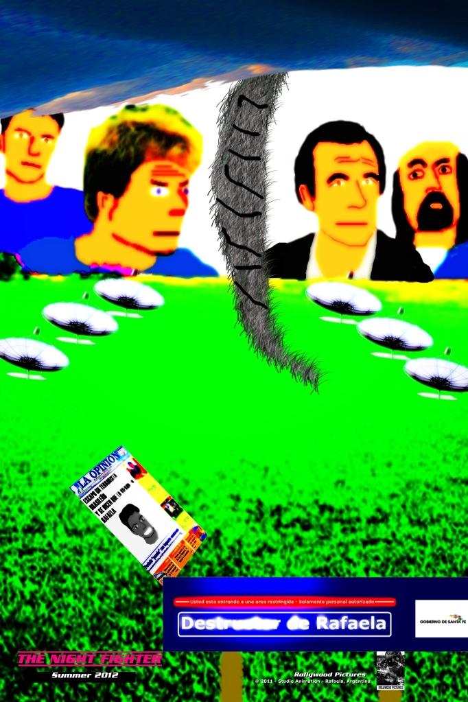 Poster de Jose Luis, el agente Daniel, sus superiores y una parodia del diario La Opinion de Rfaela donde aparece el Friker Madeira.