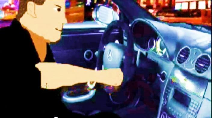 Este era yo, version animada conduciendo el Mercedez por New York
